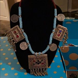 Jewelry - Long necklace with coins and rectangular pendants